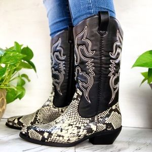 Shoes - Black Snake Cowboy Boots